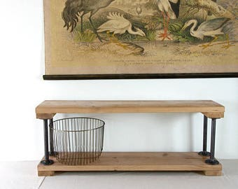 Entryway Storage Bench, Reclaimed Wood and Steel Pipe