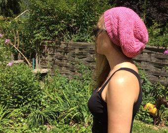 Hand knit wool sampler stitch slouch hat