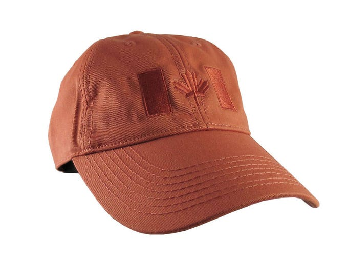 Canadian Flag Burnt Orange Embroidery Design on a Burnt Orange Adjustable Unstructured Baseball Cap Dad Hat for a Tone on Tone Fashion Look