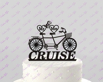 Bicycle for Two Wedding Cake Topper, Mr & Mrs Personalized with Last Name, Acrylic Cake Topper [CT53mm]
