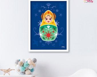 Deco kid matryoshka nesting doll Vasilisa blue poster