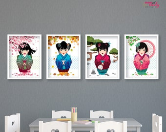 SET 4 posters KOKESHI doll Japanese kawaii multicolored