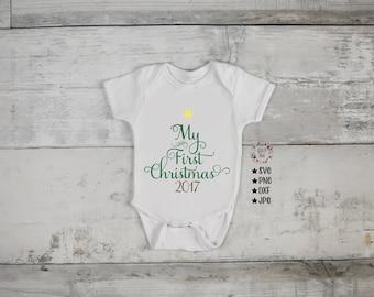 My First Christmas Svg, Christmas Tree SVG, Tree Svg, Christmas Svg, Onesie SVG, Baby Svg, Cut Files, Svg Files, Svg, Silhouette, Cricut