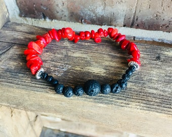 Red Coral Gemstone and Lava Essential Oil Diffuser Bracelet