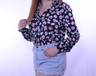 Vintage Button-Up Floral Blouse // Navy, Cream, Pink Farm Girl Fancy