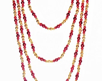 LOVELY Red And Gold Beaded Slip On Necklace (no clasp)