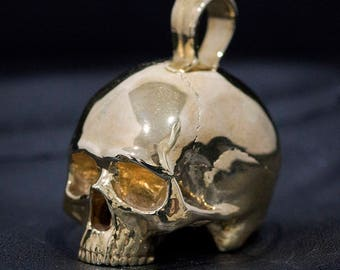 Polished Brass Large Size Half Skull Pendant, Necklace