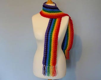 Rainbow Scarf. Hand Crocheted.