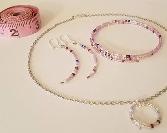 Pink Wire Bangle and Seed Bead Jewelry Set