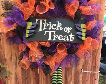 Witch Wreath - Halloween Wreath - Front Door Wreath - Witch - Trick or Treat Wreath