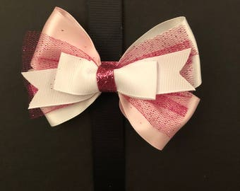 Pink and White Bow with Pink Glitter