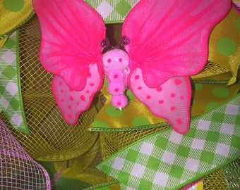"""Painted Nylon Butterfly Approx 4"""" x 5"""" on wire stem for easy attachment to most projects."""
