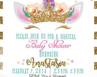 Unicorn Pastel Themed Baby Shower Digital Invitation