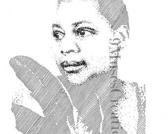 Bessie Smith empress of blues modern simple line art for decorating your home, work space, shop, bar, nightclub or give as a gift