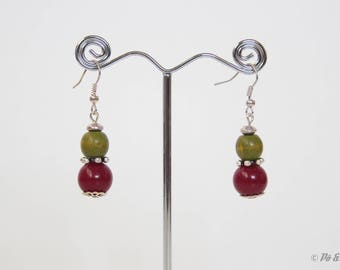 Earrings - Burgundy Red and olive green - #0606