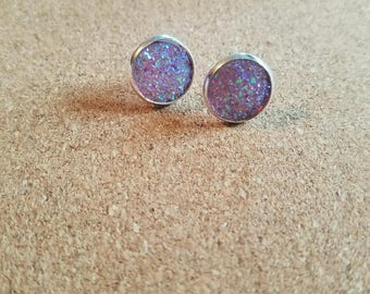 12mm purple druzy studs. Silver setting