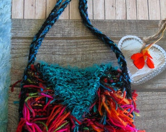 Paradise BAG, hand-knitted colourful shoulder bag