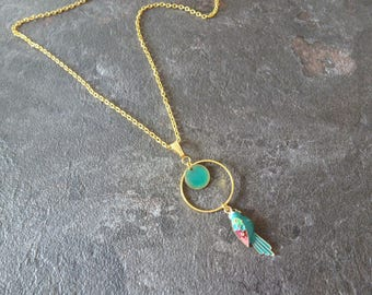 Green Parrot Tropical Jungle gold tone green Sequin necklace