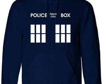 Inspired Doctor Who Police Box Who Hoodie Dr Who Unisex Hooded Top - Navy Blue