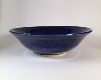 Blue pottery bowl, blue ceramic bowl, handmade bowl, salad bowl, fruit bowl