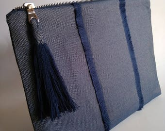 Dark blue clutch with fringes and a big tassel| Navy Blue zipper clutch| Gift for her| All day bag| Blue clutch bag| Fabric clutch bag