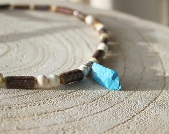 Relaxation Native American necklace in Turquoise and Hazelwood