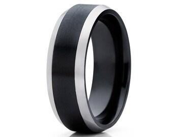 Black Zirconium Wedding Band Men's Wedding Band Women's Wedding Band Matte Finish Ring