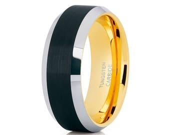 Tungsten Wedding Band Yellow Gold Tungsten Wedding Band Men & Women Black Tungsten Ring Engagement Band Anniversary