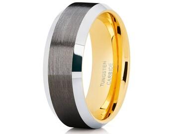 Men's Tungsten Wedding Band Yellow Gold Tungsten Ring Tungsten Carbide Ring Men & Women Gunmetal Wedding Band