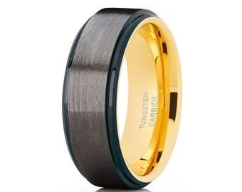 Gunmetal Tungsten Wedding Band Yellow Gold Wedding Ring Tungsten Carbide Ring Men & Women Brush Brush Ring