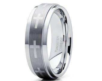 Cross Wedding Band Tungsten Wedding Band Men & Women Tungsten Carbide Ring Silver Tungsten Ring Brush Tungsten Band