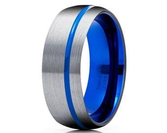 Blue Tungsten Wedding Ring Gray Tungsten Ring Men & Women Tungsten Carbide Ring Anniversary Band Blue Wedding Band Brush