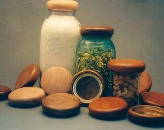 Hand-Turned Wooden Jar Lids