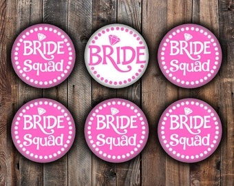 Hot pink Bride and Bride Squad pins, 2.25 inch, for bachelorette, shower, wedding