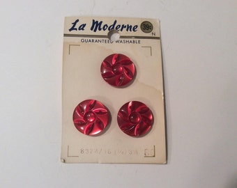 Large Red Sewing Buttons, Flower Buttons, Shiny Red Buttons, Large Red Buttons, Shank Buttons, Sewing, Crafting, Scrapbooking, Supplies