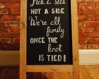 Bespoke & Hand Drawn 'Pick A Seat' Chalkboard Sign | Wedding Sign | Wedding Signs | Rustic Wedding