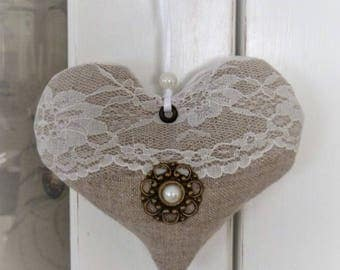 Heart linen and lace to hang, Provence Lavender scent