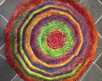 Rainbow Round Mat/Rug 100% British Wool Handspun and Crochet