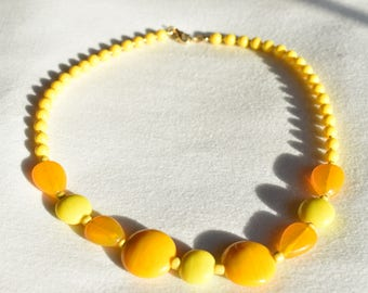 Yellow Orange Glass Statement Necklace / Bright Accent Patterned Necklace / Round Beaded Glass Minimalist Necklace / Gift for Her