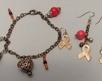 Breast Cancer Awareness Earring and Bracelet Charm Set