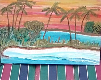 A Acrylic painting. Sunset at the lagoon