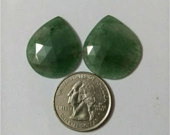 Jade green Teardrop Rose cut slice Pair/Pear rose cut slice pair /Cabochon Slice/Natural jade green/Cabochon rose cut/Earring slice pair