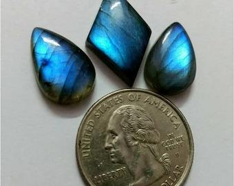 3 Pcs Lot ,Mix Shape Labradorite /Attractive Blue Flash Labradorite/wire wrap stone/Super Shiny/Pendant Cabochon/Labradorite Cabochon lot