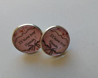 Mother's day glass cabochon earrings