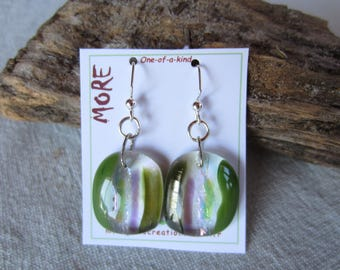 Earrings fused glass olive green and MOSS green with iridescent and purple hues