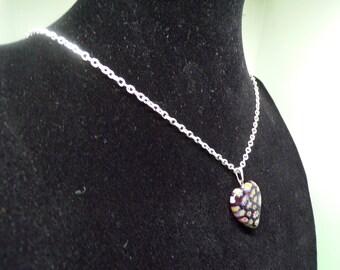 Multicolored heart shaped silver pendant necklace