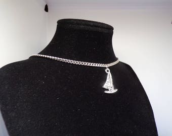 Windsurfing silver necklace with charm