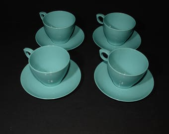 Vintage, Set of 4, Turquoise blue, Teacup and saucer, aqua blue, Mid century, Hard Plastic, Melamine, Dinnerware, Camping, cups, 8 pc