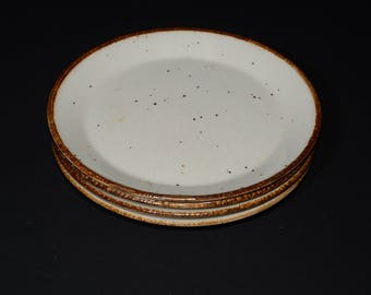 "J & G Meakin, England, Lifestyle, 4 small plate, 6 1/4"", off-white speckled in brown, vintage, pottery, c.1970s, farmhouse decor, cottage"