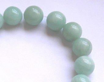 2 round beads 14 mm AMAZONITE gemstone